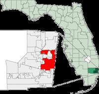 在布勞沃德縣與佛羅里達州內的位置