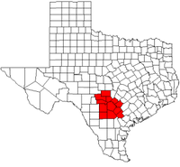 Map of Texas highlighting counties served by the Alamo Area Council of Governments.