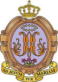 Lo stemma della congregazione: il monogramma di Maria (le lettere M e A intrecciate) coronato di dodici stelle in campo azzurro