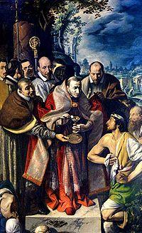 Sv. Karel Boromejský,titulární světec kongregace sester,na návštěvě u obětí infekční nákazy.Malba od Tanzia da Varallo