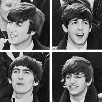 Nahoře: John Lennon, Paul McCartneyDole: George Harrison, Ringo Starr