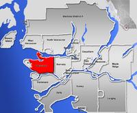 溫哥華在大溫哥華地區的位置