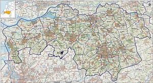 Provincie Noord-Brabant, impressie van het landschap en indeling van gemeenten (2012)