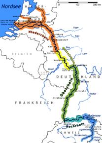 Kart over Rhinen