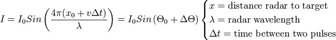 I = I_0 Sin \left(\frac{4\pi (x_0 + v \Delta t)}{\lambda}\right) = I_0 Sin \left(\Theta_0 + \Delta\Theta\right)\begin{cases} x = \mathrm{distance\ radar\ to\ target} \\ \lambda = \mathrm{radar\ wavelength}  \\ \Delta t = \mathrm{time\ between\ two\ pulses} \end{cases}