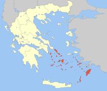 Kart over Sørlige egeiske øyer