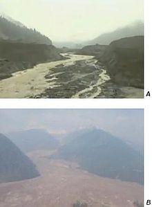 Two images showing the landscape of a large landslide.
