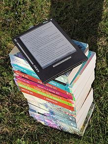 Bouquin électronique iLiad sur une pile de livre dehors au soleil.jpg