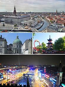 Kopenhagen CollageVon links oben: Christiansborg, Marmorkirche, Tivoli und Rådhuspladsen