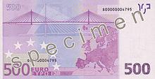 500 Euro, Rückseite