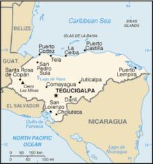 Mapa  República das Honduras