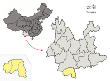 Location of Xishuangbanna Prefecture within Yunnan (China).png