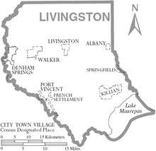 Map of Livingston Parish Louisiana With Municipal Labels.PNG