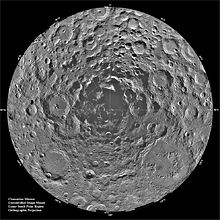Twenty degrees of latitude of the Moon's disk, completely covered in the overlapping circles of craters. The illumination angles are from all directions, keeping almost all the crater floors in sunlight, but a set of merged crater floors right at the south pole are completely shadowed.