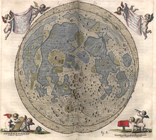 On an open folio page is a carefully drawn disk of the full Moon. In the upper corners of the page are waving banners held aloft by pairs of winged cherubs. In the lower left page corner a cherub assists another to measure distances with a pair of compasses; in the lower right corner a cherub views the main map through a handheld telescope, while another, kneeling, peers at the map from over a low cloth-draped table.