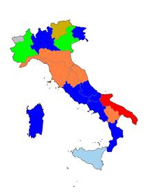 Mappa dell'Italia suddivisa in regioni con corrispondente colore del partito o coalizione del presidente regionale.