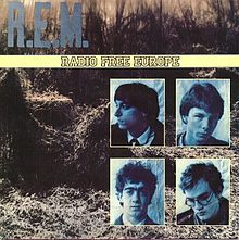"""A picture of a field of kudzu with the word """"R.E.M."""" in light blue written across the top, a yellow band in the middle that reads """"RADIO FREE EUROPE"""" and a montage of blue-tinted photographs of the members of R.E.M. in the bottom-right corner (clockwise, from top-left): Peter Buck, Mike Mills, Michael Stipe, and Bill Berry"""