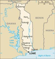 Mapa  República do Togo