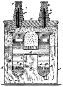 Woodcut line drawing of H-shaped cell in an enclosure with electrical terminals at the top.