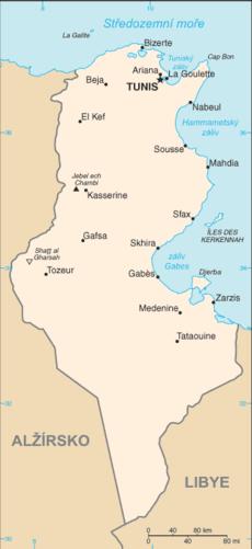 Mapa  Tunísia R.