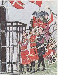 Re Enzo viene scortato dalle truppe bolognesi all'interno delle mura cittadine (XIII sec.).