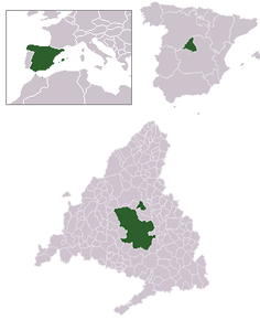 Localizarea Madridului în cadrul fiecărui unități administrative
