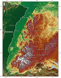 Topographie des Schwarzwaldes