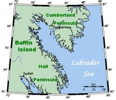 Cumberland Sound - Cumberland Sound, a part of the Labrador Sea, between Cumberland Peninsula and Hall Peninsula.