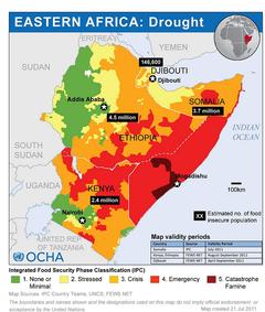 位于非洲之角的飢荒国家狀態