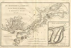 Mappa dell'antica città di Bisanzio, prima che diventasse Costantinopoli.