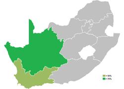 Províncias da África do Sul em que falantes nativos de africâner são maioria