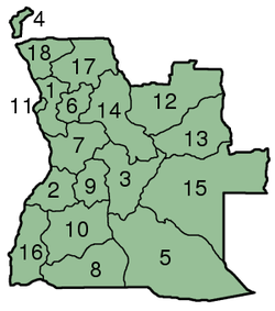 Mapa das subdivisões de Angola.