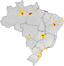 Mapa do Brasil com a localizao das regies metropolitanas (municpios pricipais em vermelho e os outros da RM em amarelo).