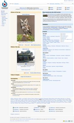 Screenshot della pagina principale di Wikimedia Commons
