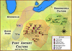 Fort Ancient cultural region, with some of its major sites and neighbors