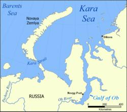 """poloha průlivu Karská vrata (na mapce """"Kara Strait"""")"""