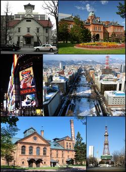 Do topo, à esquerda: Torre do relógio de Sapporo, Antigo prédio do governo de Hokkaidō, Susukino, Parque Odori, Museu da Cerveja de Sapporo e Torre de televisão de Sapporo.