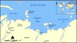 Mapa Moře Laptěvů