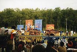 Vista desde una de las tribunas de la sede la competición, el Lawson Tama.