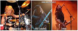I Motörhead. Da sinistra Mikkey Dee, Phil Campbell e Lemmy Kilmister.