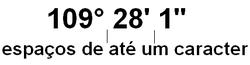 Representação correta dos símbolos da unidade grau, minuto e segundo para o ângulo plano