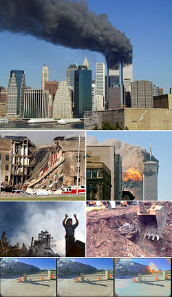 A montage of eight images depicting, from top to bottom, the World Trade Center towers burning, the collapsed section of the Pentagon, the impact explosion in the south tower, a rescue worker standing in front of rubble of the collapsed towers, an excavator unearthing a smashed jet engine, three frames of video depicting airplane impacting the Pentagon.