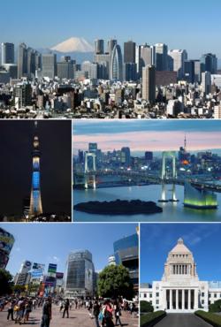 上:新宿的天際線景觀、中左:東京晴空塔、中右:從台場遙望東京市區、下左:澀谷街景、下右:國會議事堂的天際線