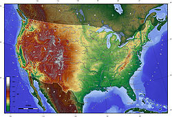 Topography of the 48 states of the U.S. mainland