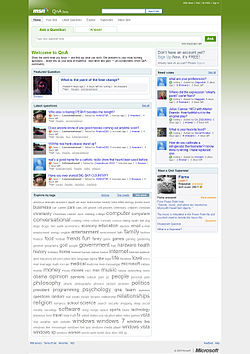 A screenshot of Live Search QnA homepage