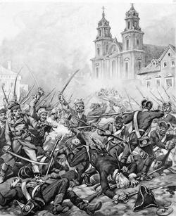 """""""克拉科夫城郊""""区的战斗,由朱利斯·哥萨克绘"""