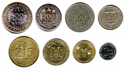 Current coins of the West African CFA franc.