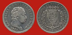 1 lira coin by Charles Felix