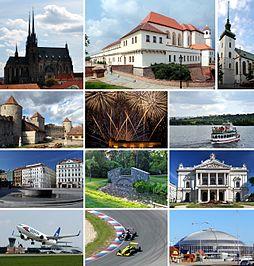 Statutární město Brno • Vlevo 1: Katedrála svatého Petra a Pavla na Petrově • Vlevo 2: Hrad Veveří • Vlevo 3: Náměstí Svobody • Vlevo 4: Mezinárodní letiště Brno-Tuřany • Uprostřed 1: Hrad a pevnost Špilberk • Uprostřed 2: Ignis Brunensis, mezinárodní přehlídka ohňostrojů • Uprostřed 3: Park Lužánky • Uprostřed 4: Závod na Masarykově okruhu • Vpravo 1: Kostel svatého Jakuba • Vpravo 2: Brněnská přehrada v době plavební sezóny • Vpravo 3: Mahenovo divadlo • Vpravo 4: Část areálu Brněnského výstaviště