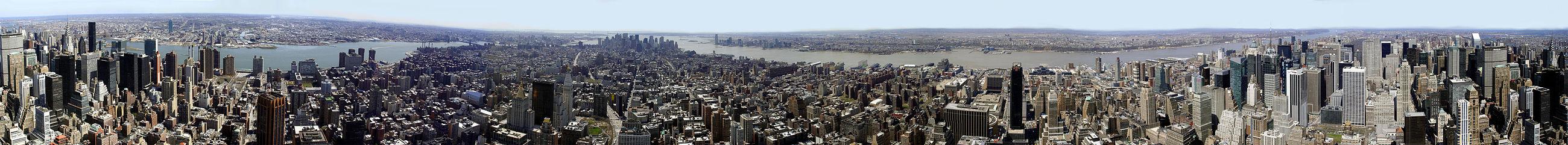 Foto panorâmica de Nova Iorque vista do Empire State Building.